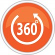The orange icon that says 360 degrees — Stock Vector
