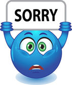 Blue smiley apologizes — Stock Vector