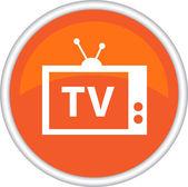 Icono redondo con la imagen de la tv — Vector de stock