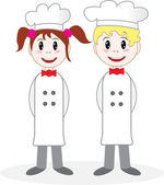 Boy and girl chefs — Stock Vector