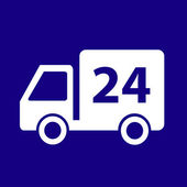 24-Hour Delivery Truck Icon — Stock Vector