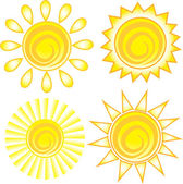 Set of Suns, Icon, Symbol — Stock Vector