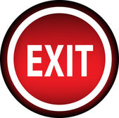 Red vector icon labeled - exit — Stock Vector