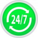 botón verde 24 horas Vector — Vector de stock