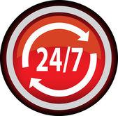 Vektorové 24 hodin červené tlačítko — Stock vektor