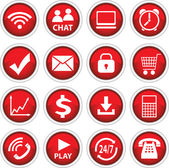Round red vector icons — Stock Vector