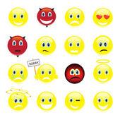 Vector conjunto de caras sonrientes — Vector de stock