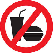 Žádné jídlo a pití Vektoru symbol — Stock vektor