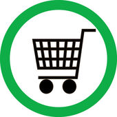 Green vector sign with a picture of a basket — Stockvektor