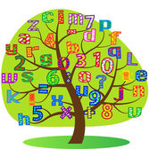 Drawn tree with letters — Stock Photo