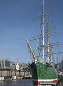 Sailboat at the dock — Stock Photo