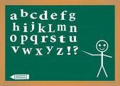 English alphabet on a blackboard. — Stock Vector