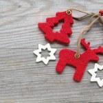 Reindeer, Christmas tree and stars — Stock Photo
