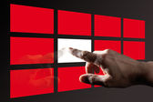 Finger Touching Red Digital Touch Screen — Stock Photo