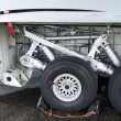 Stock Photo: Landing gear of jet airplane