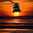 Stock Photo: Helicopter at sunset