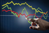 Touching Stock Market Chart — Stock Photo