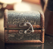 Little old little chest for storage — Stock Photo