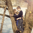 Young beautiful couple hugging against the tree — Stock Photo