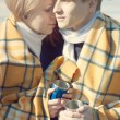 Young couple in love, winter drink tea — Stock Photo
