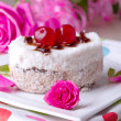 Celebratory cake with cherries — Stock Photo