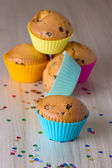 Homemade cupcakes with silicone molds — Stock Photo