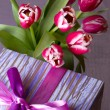 Pink tulips and gift box - Stock Photo