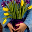 Woman holding a bouquet of tulips and irises — Stock Photo