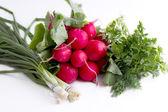 Tomates, concombres et épinards frais — Photo
