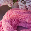 Lilac stripy scarf is in spiral shape. — Stock Photo #25287615