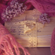 Old letters with lilac on soft scarf - Lizenzfreies Foto