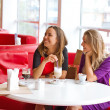 Two girl-friends talk in cafe — Stock Photo #30666189