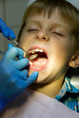 Boy on reception at the dentist — Stock Photo