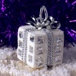 Silver christmas gift — Stock Photo #31394725