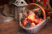 Fresh red apple with christmas — Stock Photo
