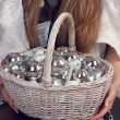 Stock Photo: Basket with Christmas decorations