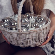 Basket with Christmas decorations — Stock Photo