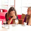 Two woman sitting in cafe — Stock Photo