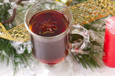 Christmas mug with tea decorated — Stock Photo