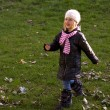 Baby girl walking in an autumn — Stock Photo