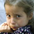 Terrified girl holding her mouth — Stock Photo
