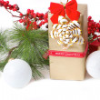 Christmas gift with branch firtree — Stock Photo #35136815