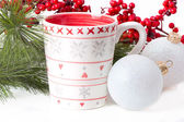 Cup of tea with xmas decoration — Stock Photo