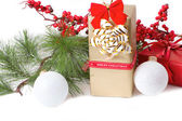 Christmas gift with branch firtree — Stockfoto