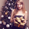 Woman with gift box and christmas tree — Stock Photo