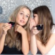 Girls girlfriends fissile secrets over coffee — Stock Photo