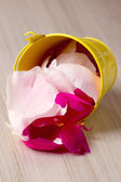 Tin bucket filled with rose petals — Stock Photo