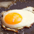 Stock Photo: Eggs fried on griddle fatty