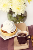 Coffee and cake with whipped cream — Stock Photo