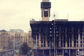 KIEV,UKRAINE: Trade Unions house burnt — Stock Photo